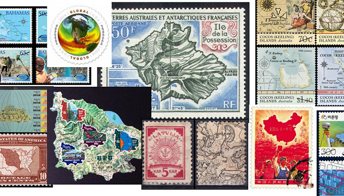 Examples for maps on stamps
