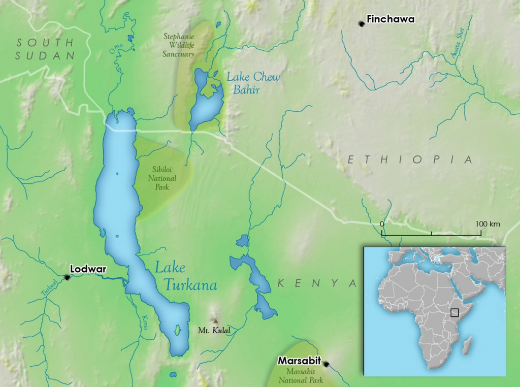 Map of Lake Turkana – this map was newly created within the MapLift project