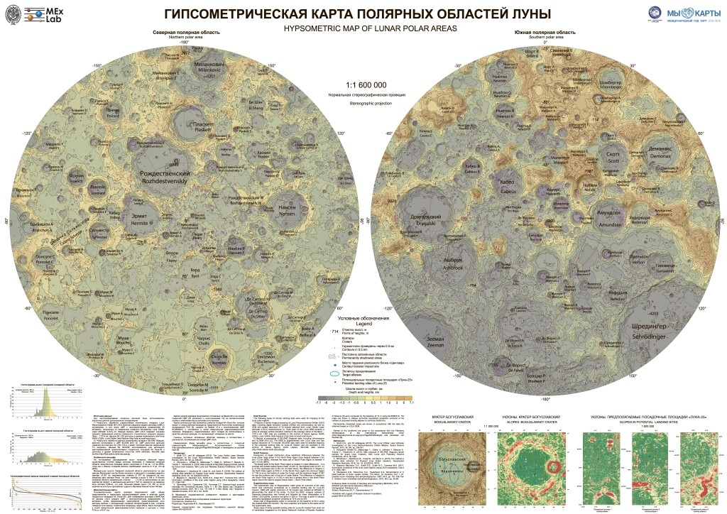 Hypsometric wall map of future Lunar potential landing sites (MIIGAiK, 2016)