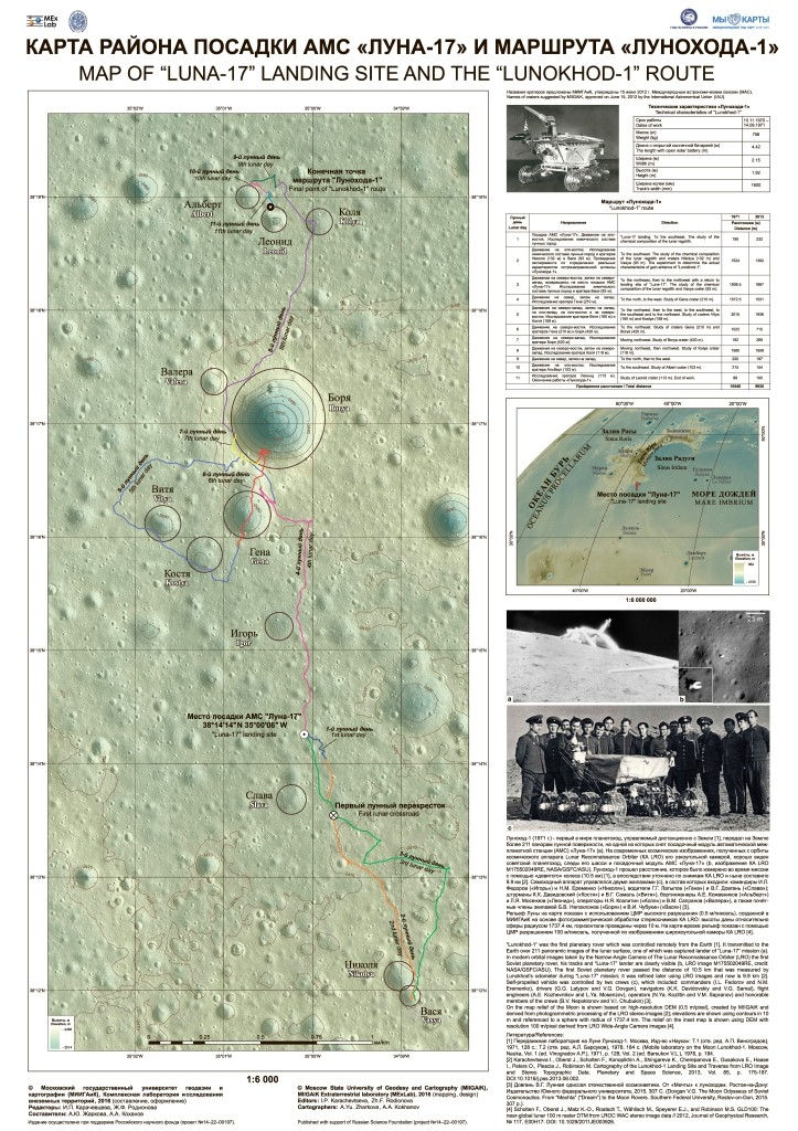 "New map of ""Luna-17"" landing site and the ""Lunokhod-1"" route (MIIGAiK, 2016)"