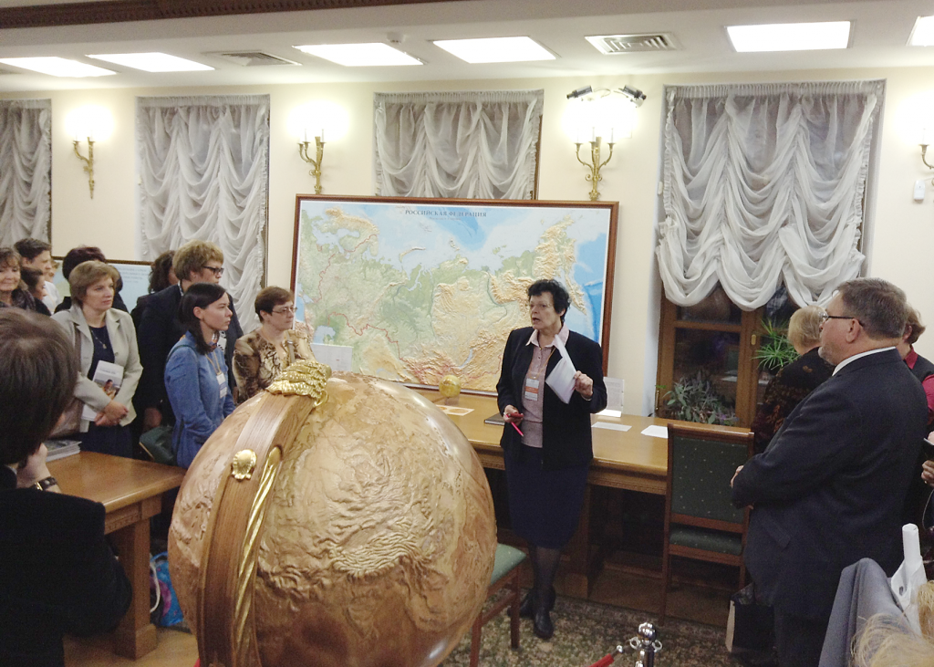 Lyudmila Zinchuk, head of the Department of Cartographic Publications of the Russian State Library, opens the map exhibition in Pashkov House