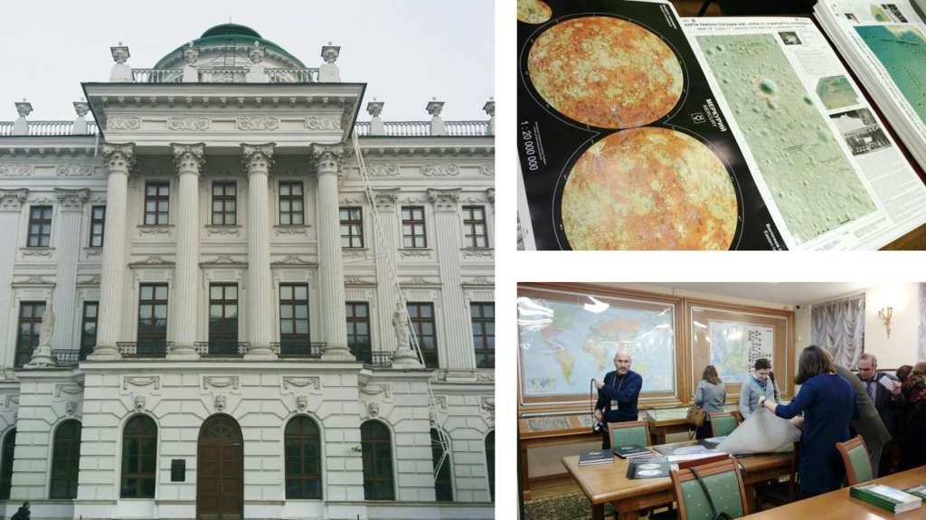 Left: Pashkov House where the Department of Cartographic Publications of the Russian State Library is placed. Right: MExLab planetary wall maps and Phobos Atlas presented at the Map exhibition in Pashkov House.